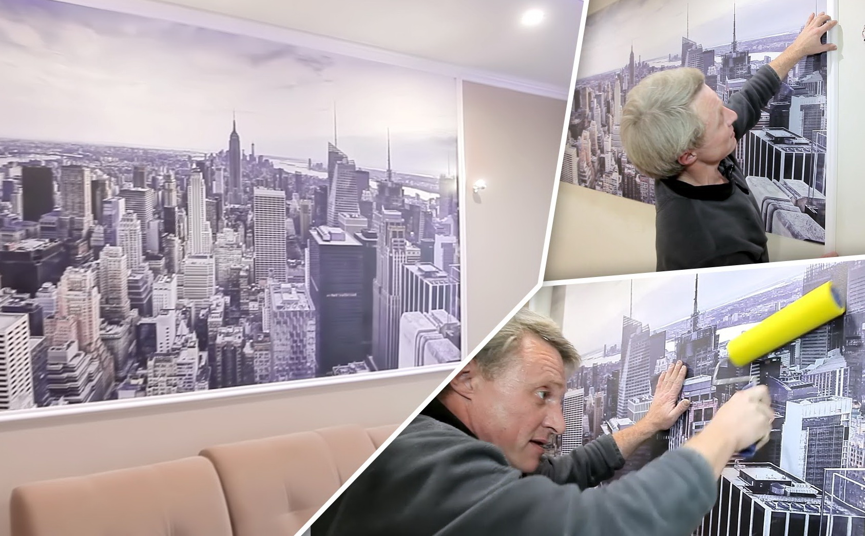 Наклеивание фотообоев на стену