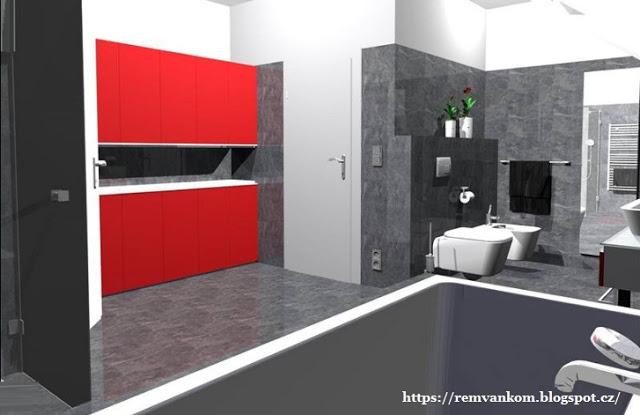 Дизайн проект ванной комнаты на мансарде. Вариант первый