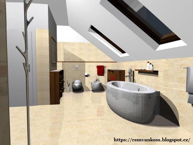 Дизайн проект ванной комнаты на мансарде. Вариант второй