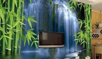 Фотообои с водопадом в ванной и комнатах