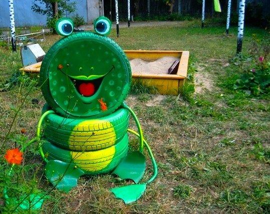 Лягушка из шин своими руками для сада: как сделать с фото и видео в фото