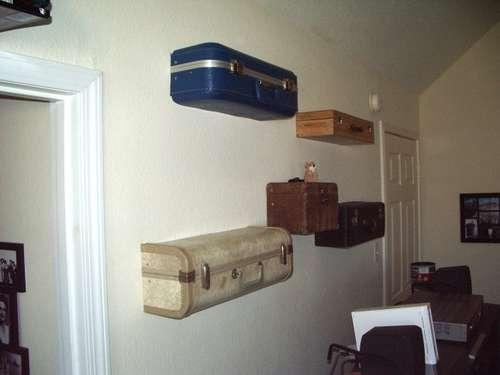 Настенные полки-чемоданы своими руками в фото