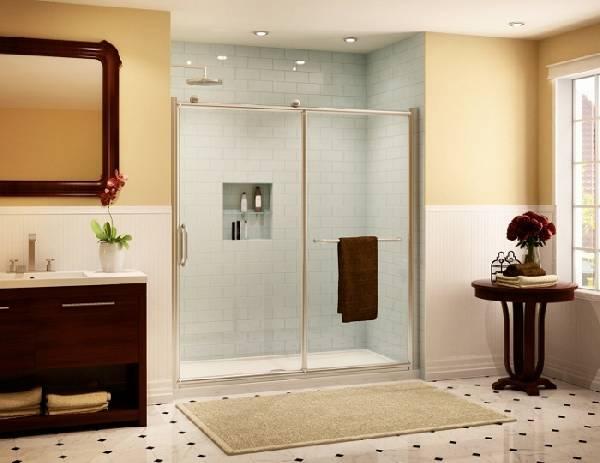 Раздвижные стеклянные двери для душа: 25 фото в интерьере ванной