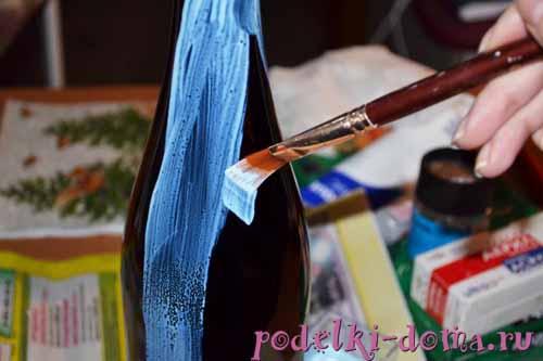 Шампанское на Новый год: декор из лент и в технике канзаши с фото в фото