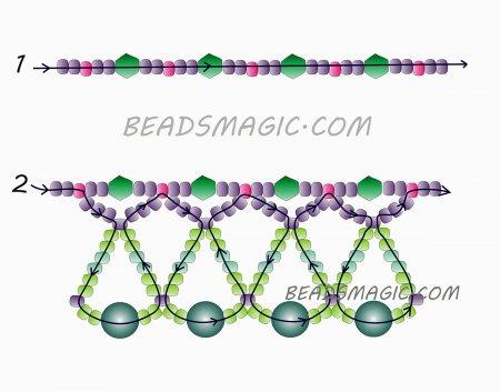 Схема плетения из бисера ожерелья «Mila» в фото