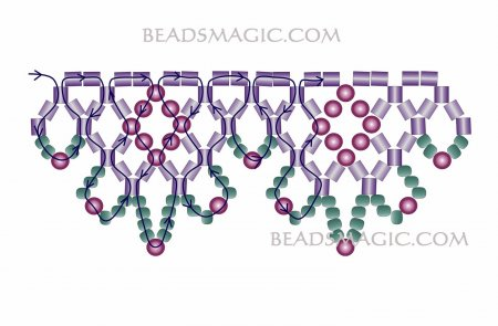 Схема плетения из бисера ожерелья «Пламя» в фото