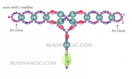 Схема плетения из бисера ожерелья «Snow Land» в фото