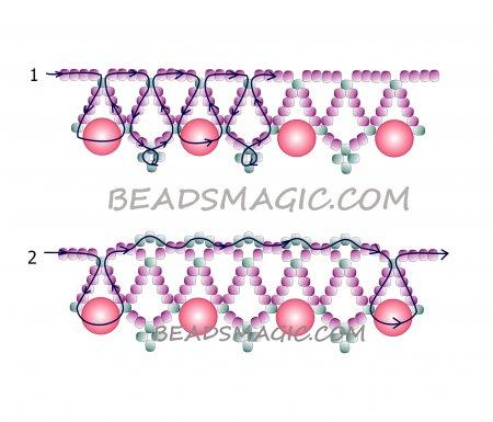 Схема плетения из бисера ожерелья «Strawberry Candy» в фото