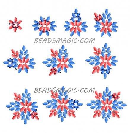 Схема плетения из бисера сережек «Кармен» в фото