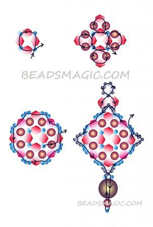 Схема плетения из бисера сережек «Китайские фонари» в фото