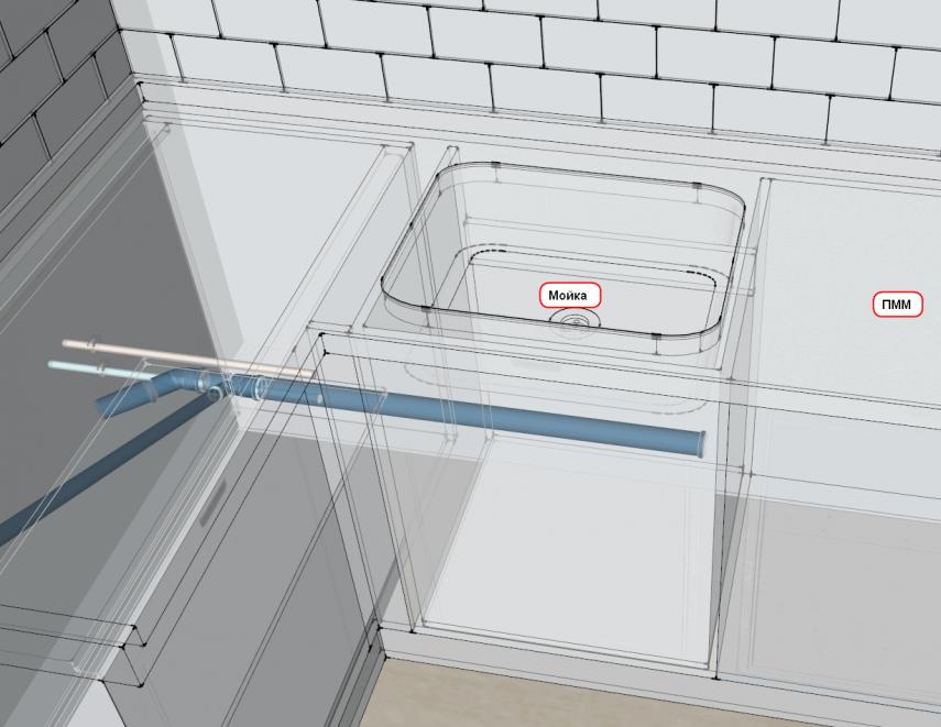 Штроба под канализацию D50 на кухню