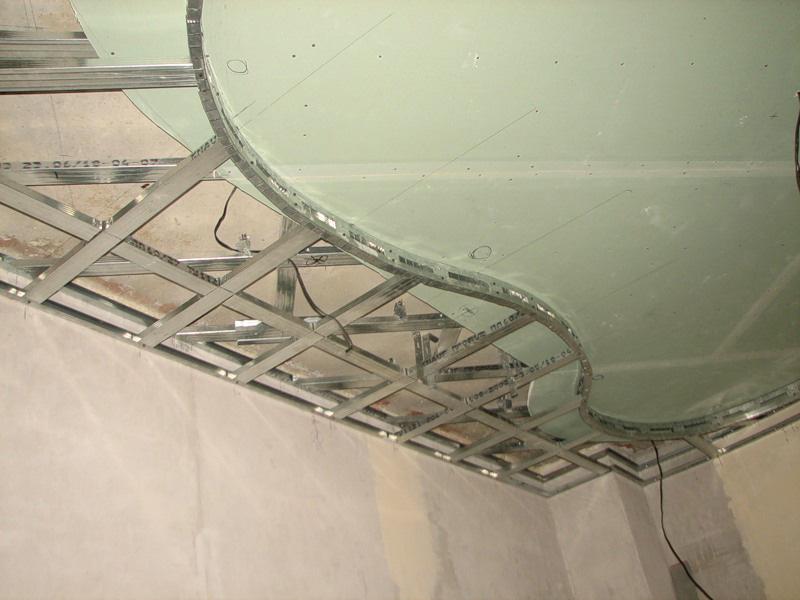 Монтаж каркаса подшивного потолка