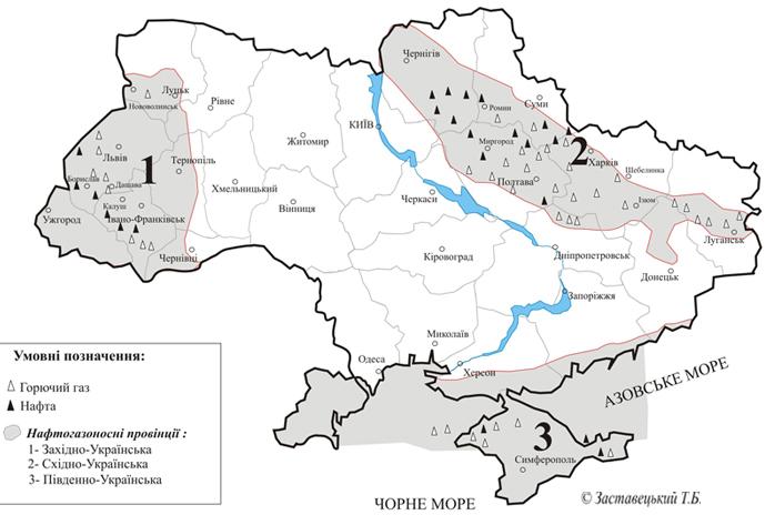 Карта розміщення родовищ нафти і газу на території України