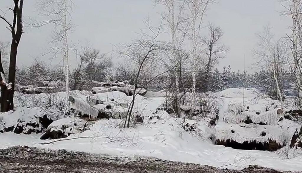 Замаскований  український танк