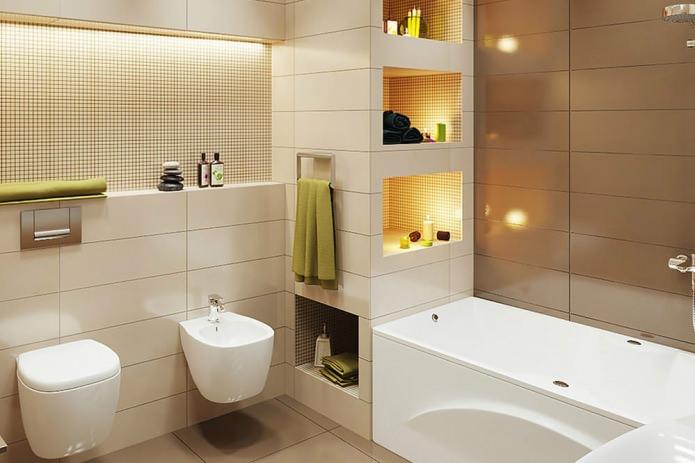 Дизайн в ванной в бежево коричневых тонах