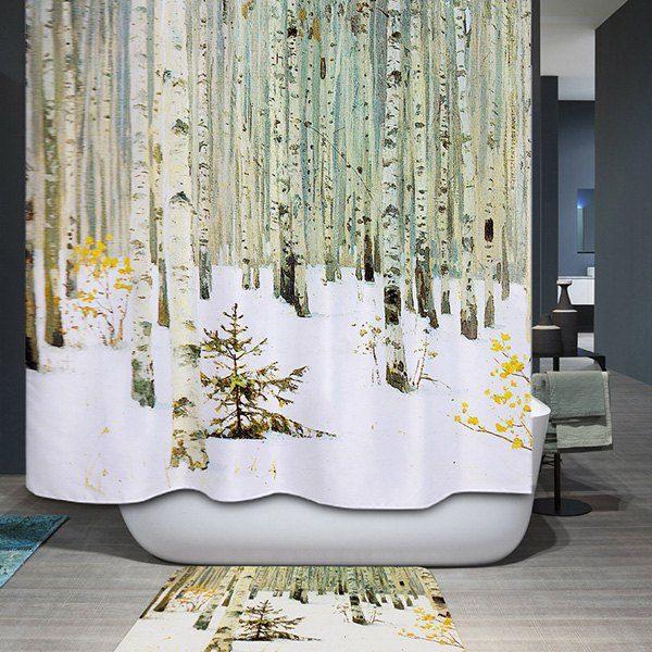 Шторы в ванную с зимним рисунком