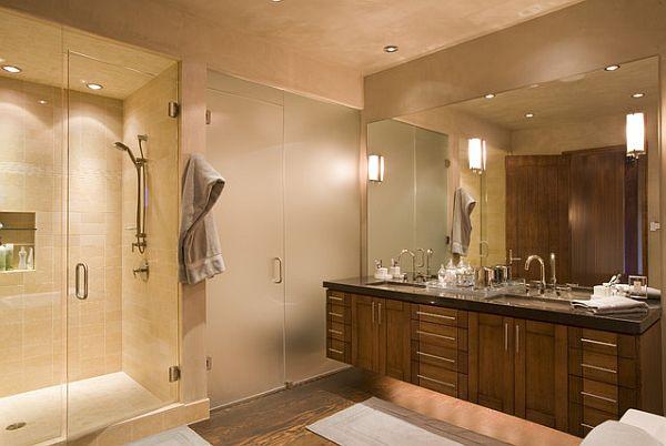 Мягкое теплое освещение в ванной