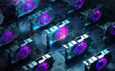 85196815 abstract cyber space with multiple gpu videocards farm blockchain cryptocurrency mining concept 3d r